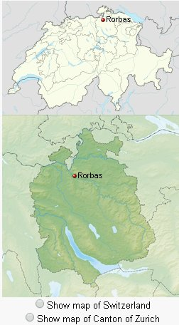 obec Rorbas na mapě Švýcarska a kantonu Curych (wikipedia.org)