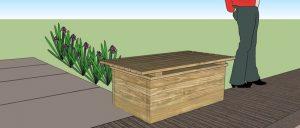 Návrh: Nové dřevěné bedny na posyp z dubového dřeva se sedákem