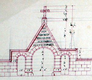 Návrh: Vybudovat bránu na hřbitov podle Františka Schmoranze