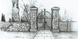 Návrh: Kovaná brána v novém vstupu na hřbitov