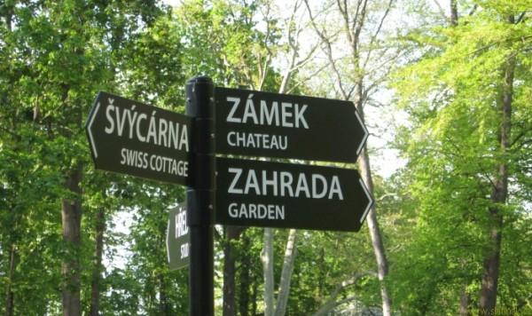 ukazatele Zámek - Švýcárna - zahrada v parku u zámku