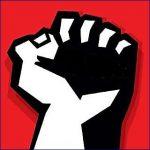 pěst na rudém pozadí - symbol levice